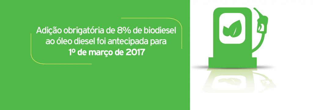 Adição obrigatória de 8% de biodiesel ao óleo diesel foi antecipada para 1º de março de 2017